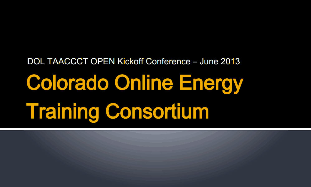 Colorado Online Energy Training Consortium Presentation